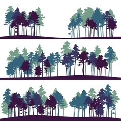 set different landscape with pine trees vector image
