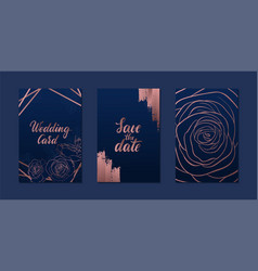 set luxury wedding invitation card with gold vector image