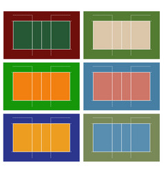 Set of different volleyball court vector