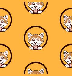 shiba inu dog pattern background vector image