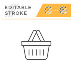 shopping basket editable stroke line icon vector image