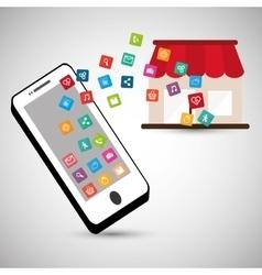 Smartphone store online social network vector