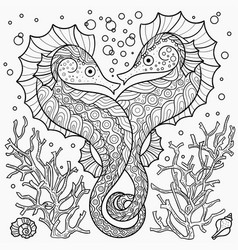 stylized seahorse among corals vector image