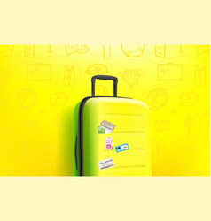Summer travel concept composition with travel bag vector