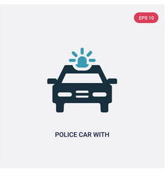 Two color police car with light icon from vector