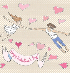 Valentine flying vector image