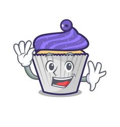 Waving blueberry cupcake character cartoon vector
