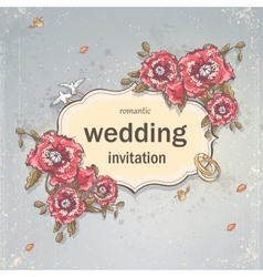 wedding invitation card for your text on a gray vector image