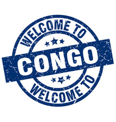 welcome to congo blue stamp vector image