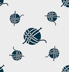Yarn ball icon sign Seamless pattern with vector image