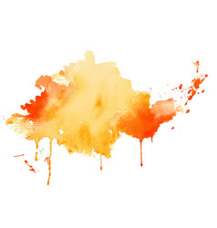 yellow and orange watercolor splash texture vector image