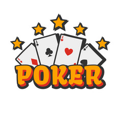 casino poker cards and golden stars vector image