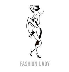 Elegant fashion model lady design vector image