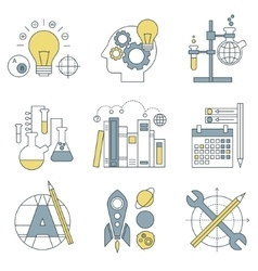 Flat design concept icons on marketing theme vector image