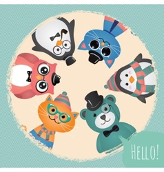 Hipster fashion retro animals and pets background vector