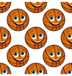 Seamless pattern of a happy cartoon basketball vector image