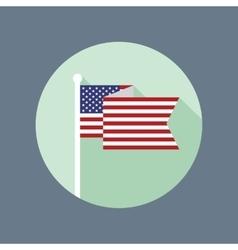 USA Flag on Flagpole Flat Icon vector image