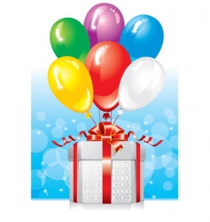 gift with balloons vector image vector image