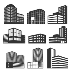 Modern business buildings black icons vector image vector image