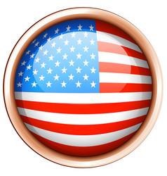 round badge design for flag of america vector image vector image