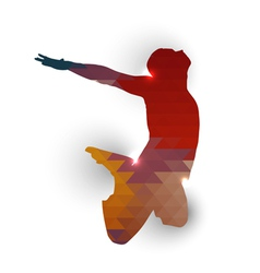 Silhouette of jumping boy vector image