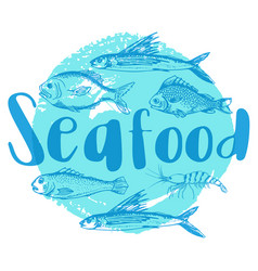 blue seafood background vector image