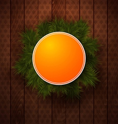 Bright Christmas label Wooden panel and realistic vector image vector image