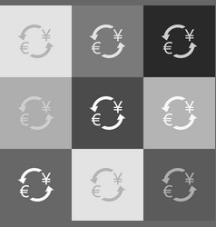 currency exchange sign euro and japan yen vector image vector image