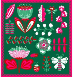 floral decorative design elements set with bugs a vector image vector image