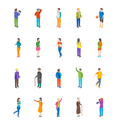 people characters icon set isometric view vector image