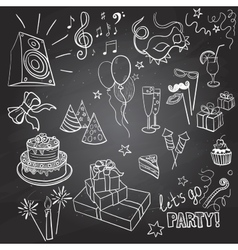 set of sketch party objects hand-drawn vector image
