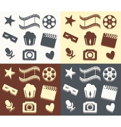 Simple cinema patterns vector image vector image