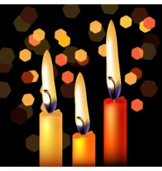 three festive candles vector image