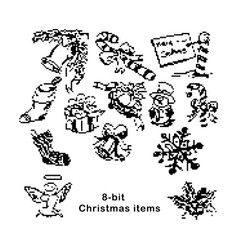 black 8-bit christmas items vector image vector image