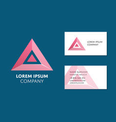 business card template with red triangle logo vector image vector image