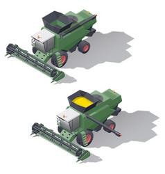 combine harvester isometric icon set vector image