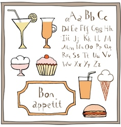 Food drawings and ABC set vector image