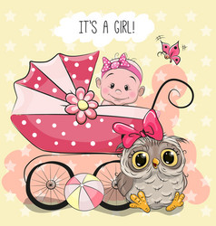 greeting card it is a girl vector image vector image