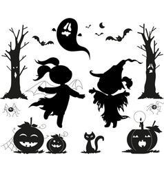 Halloween black icons for kids vector image vector image