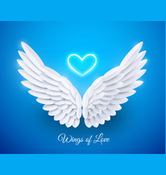 3d white realistic layered paper cut angel vector