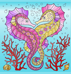 a two cute seahorses spun vector image