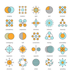 Abstract symbols color icons set vector