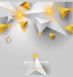 Abstract white and gold triangle background 3d vector