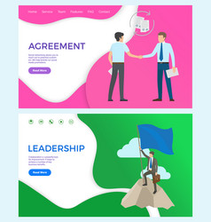 agreement with partners businessman on peak top vector image
