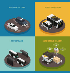 autonomous vehicles isometric design concept vector image