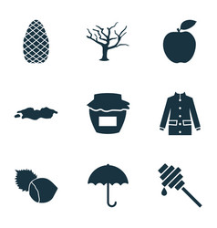autumn icons set with umbrella puddle tree and vector image