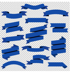 blue web ribbons set transparent background vector image