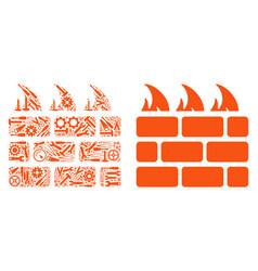 Brick firewall mosaic repair tools vector