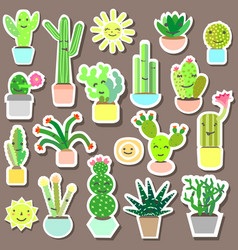 cactus baby stickers vector image