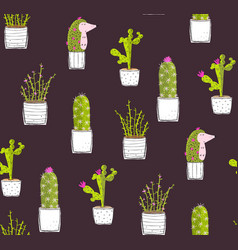 cactus hedgehog hiding dark seamless pattern vector image